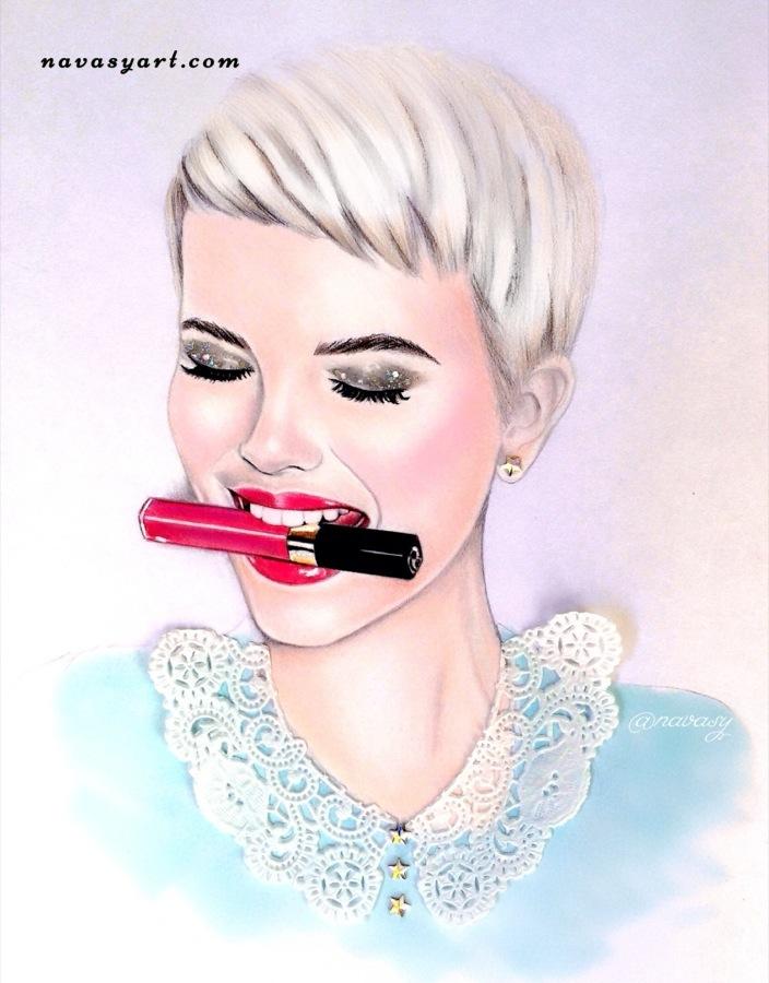 Woman wtih lipstick